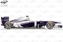 Vue latérale de la Williams FW33, lancement