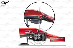 Ferrari F14 T step in chassis (arrow) to conform with regulations