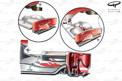 Ferrari F10 front wing comparison (older specification top left)