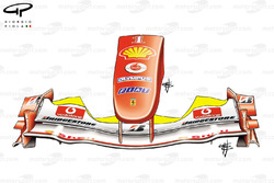 Ferrari F2004 front wing trimmed down (yellow highlight shows usual chord length)