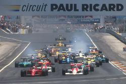 Nigel Mansell, Ferrari 641; Gerhard Berger, McLaren MP4/5B, Honda; Ayrton Senna, McLaren MP4/5B, Hon