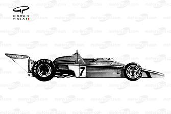 Vue latérale de la Ferrari 312B2