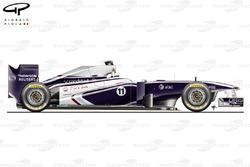 Vue latérale de la Williams FW33, Abu Dhabi