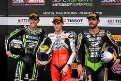 Le deuxième, Randy Krummenacher, Puccetti Racing Kawasaki, le poleman Jules Cluzel, MV Agusta, le tr