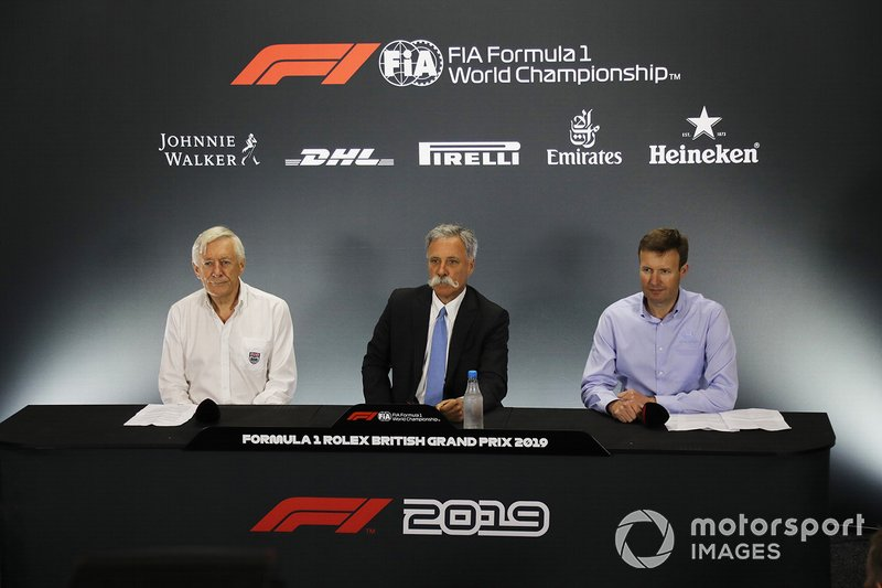Chase Carey, Chairman, Formula 1, Stuart Pringle, Silverstone managing director, John Grant, Silverstone circuit owner