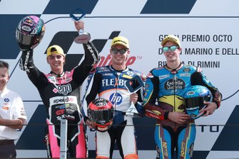 Podium: race winner Augusto Fernandez, Pons HP40, second place Fabio Di Giannantonio, Speed Up Racing, third place Alex Marquez, Marc VDS Racing