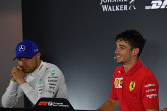 Valtteri Bottas, Mercedes AMG F1, 2nd position, and Charles Leclerc, Ferrari, 1st position, in the Press Conference