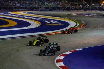 Valtteri Bottas, Mercedes AMG W10, leads Nico Hulkenberg, Renault F1 Team R.S. 19, and Alexander Albon, Red Bull Racing RB15
