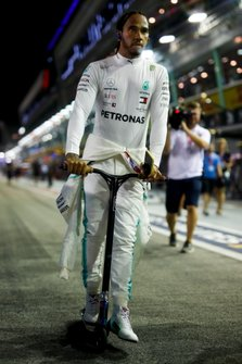 Lewis Hamilton, Mercedes AMG F1 on a scooter