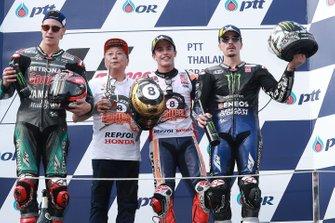 Podio: il vincitore della gara Marc Marquez, Repsol Honda Team, il secondo classificato Fabio Quartararo, Petronas Yamaha SRT, il terzo classificato Maverick Vinales, Yamaha Factory Racing