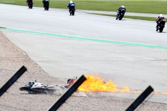 Andrea Dovizioso, Ducati Team bike on fire