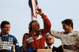 Niki Lauda, McLaren; Ayrton Senna, Toleman and Derek Warwick, Renault