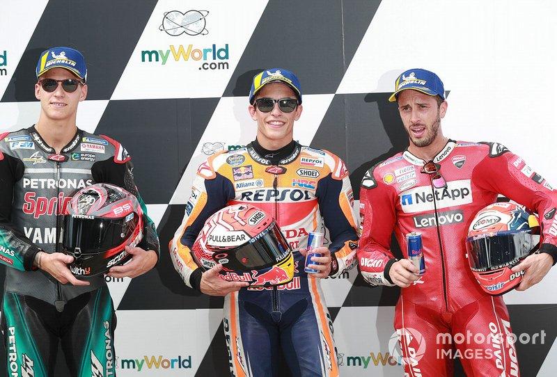 Polesitter Marc Marquez, Repsol Honda Team, tweede plaats Fabio Quartararo, Petronas Yamaha SRT, derde plaats Andrea Dovizioso, Ducati Team