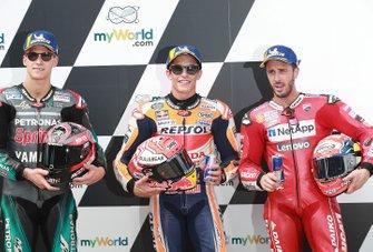 Ganador de la pole Marc Márquez, Repsol Honda Team, segundo clasificado Fabio Quartararo, Petronas Yamaha SRT, tercer clasificado Andrea Dovizioso, Ducati Team.