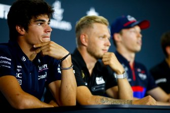 Lance Stroll, Racing Point, Kevin Magnussen, Haas F1 et Daniil Kvyat, Toro Rosso, en conférence de presse