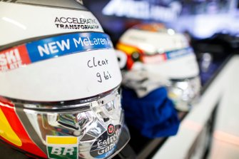 The helmets of Carlos Sainz Jr., McLaren