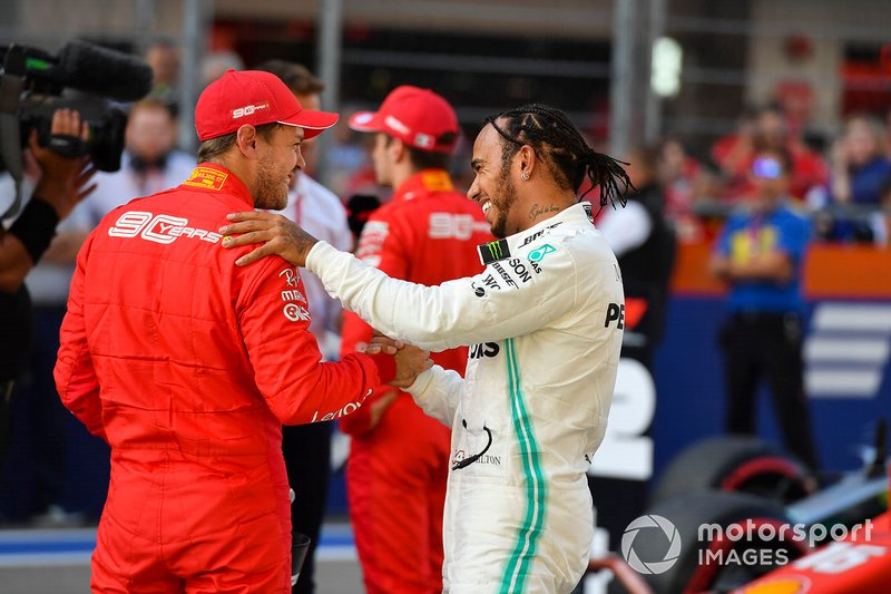 Sebastian Vettel, Ferrari, and Lewis Hamilton, Mercedes AMG F1, congratulate each other after Qualifying