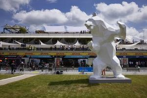 Bear sculpture opposite the pit lane