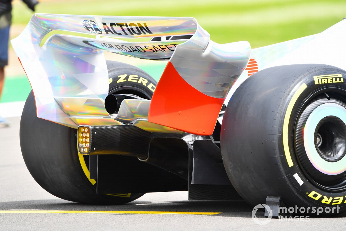 The 2022 Formula 1 car launch event on the Silverstone grid. Rear wing and diffuser detail