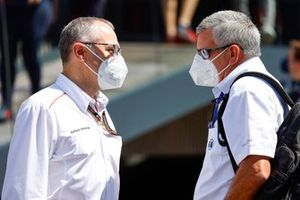 Stefano Domenicali, CEO, Formula 1 with Derek Warwick