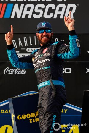 Martin Truex Jr., Joe Gibbs Racing, Toyota Camry Auto-Owners Insurance celebrates his win