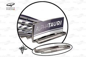 Nuevo alerón delantero y endplate del AlphaTauri AT02 en el GP de Francia