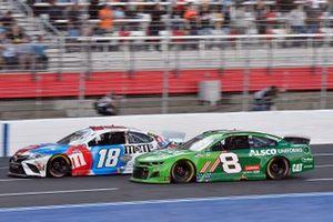 Kyle Busch, Joe Gibbs Racing, Toyota Camry M&M's Red, White & Blue, Tyler Reddick, Richard Childress Racing, Chevrolet Camaro Alsco Uniforms
