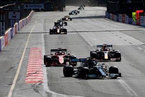 Lewis Hamilton, Mercedes W12, Charles Leclerc, Ferrari SF21, and Max Verstappen, Red Bull Racing RB16B