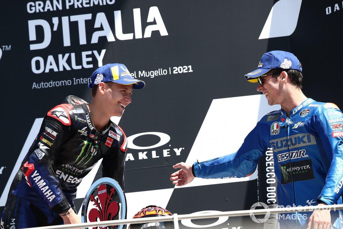 Podio: ganador de la carrera Fabio Quartararo, Yamaha Factory Racing, segundo lugar Joan Mir, Team Suzuki MotoGP