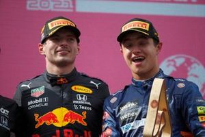 Max Verstappen, Red Bull Racing, 1st position, and Lando Norris, McLaren, 3rd position, on the podium