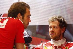 Jean-Eric Vergne, Ferrari Development Driver and Sebastian Vettel, Ferrari