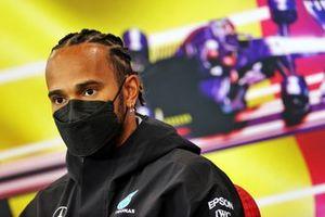 Lewis Hamilton, Mercedes, in de persconferentie
