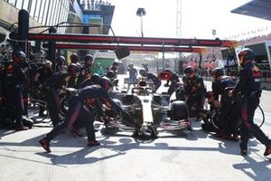 Sergio Perez, Red Bull Racing RB16B, in the pits