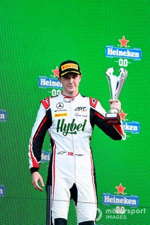 Frederik Vesti, ART Grand Prix celebrates on the podium