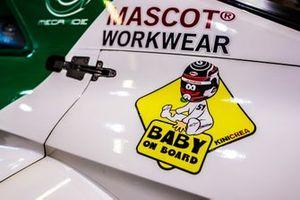 Baby sticker on the car of Nico Müller, Audi Sport Team Abt Sportsline