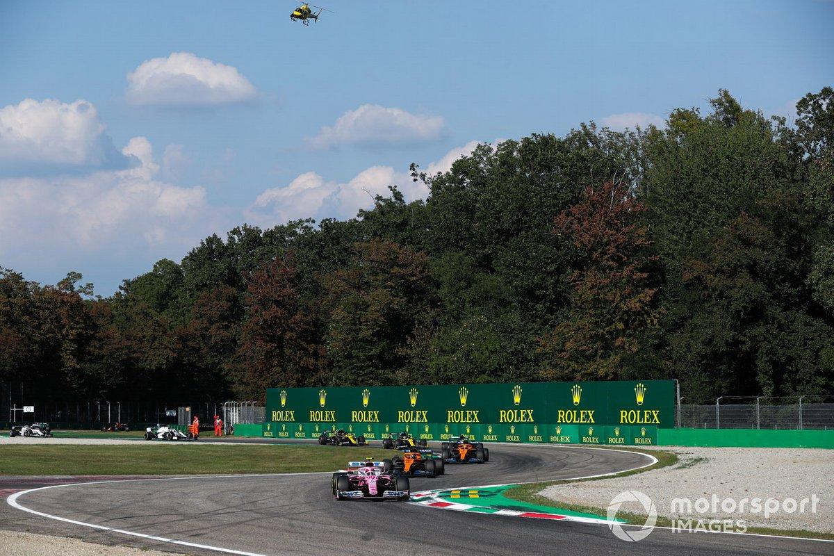 Lance Stroll, Racing Point RP20, Carlos Sainz Jr., McLaren MCL35, Lando Norris, McLaren MCL35
