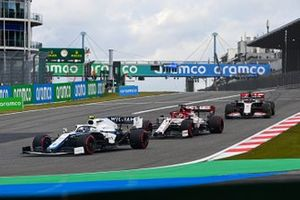 Nicholas Latifi, Williams FW43, Kimi Raikkonen, Alfa Romeo Racing C39, and Romain Grosjean, Haas VF-20