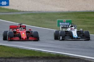 Sebastian Vettel, Ferrari SF1000, battles with George Russell, Williams FW43