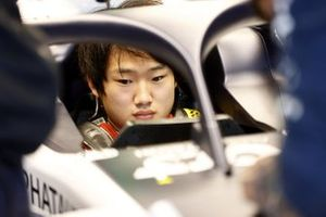 Yuki Tsunoda, Honda Formula Dream Project sits in his car in the garage
