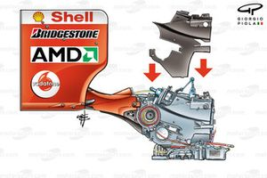 Ferrari F2004 gearbox and rear wing assembly