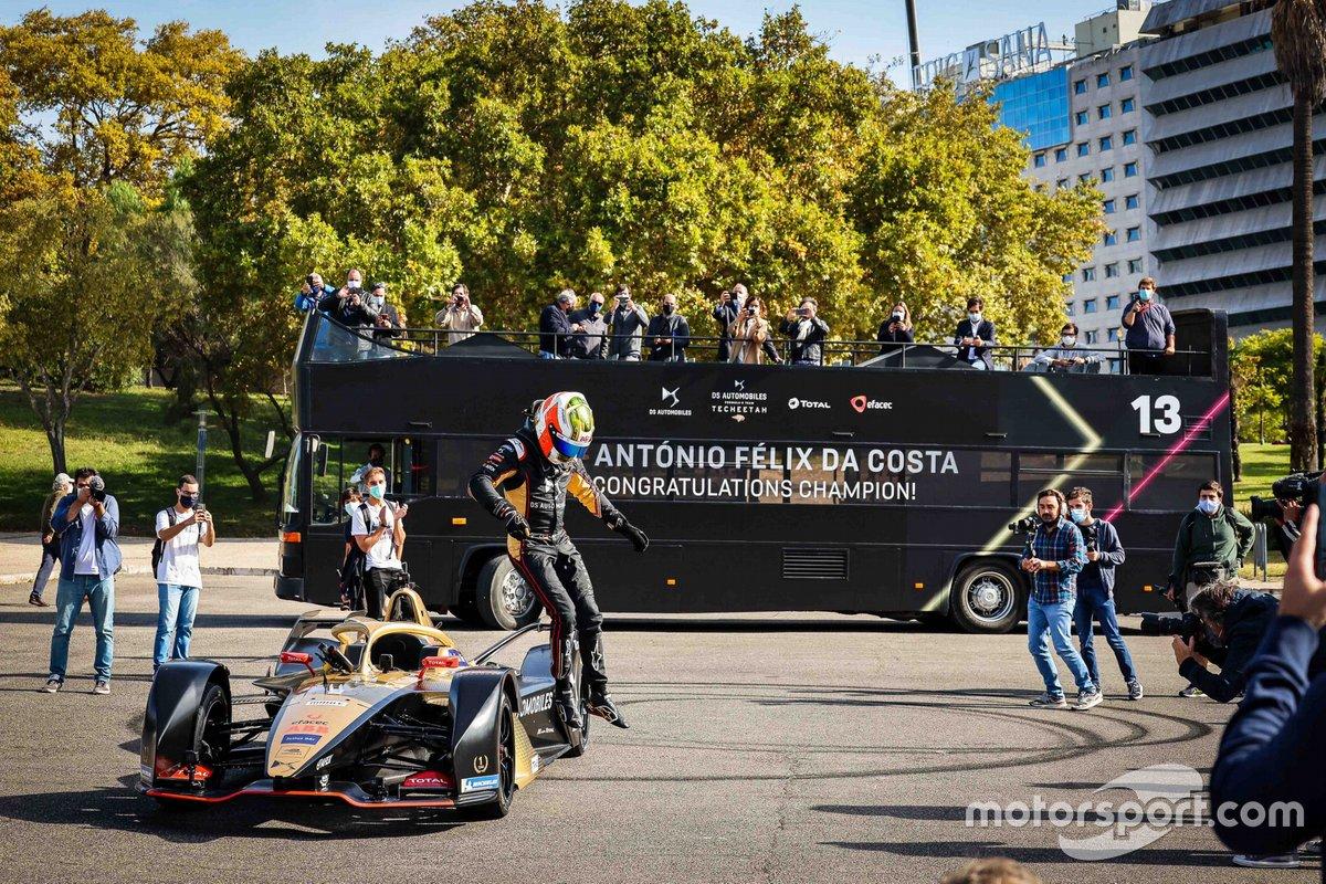 Antonio Felix Da Costa, driver of DS TECHEETAH FE Team, celebrates championship titles in Lisbon, Portugal