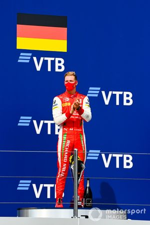 Race Winner Mick Schumacher, Prema Racing celebrates on the podium