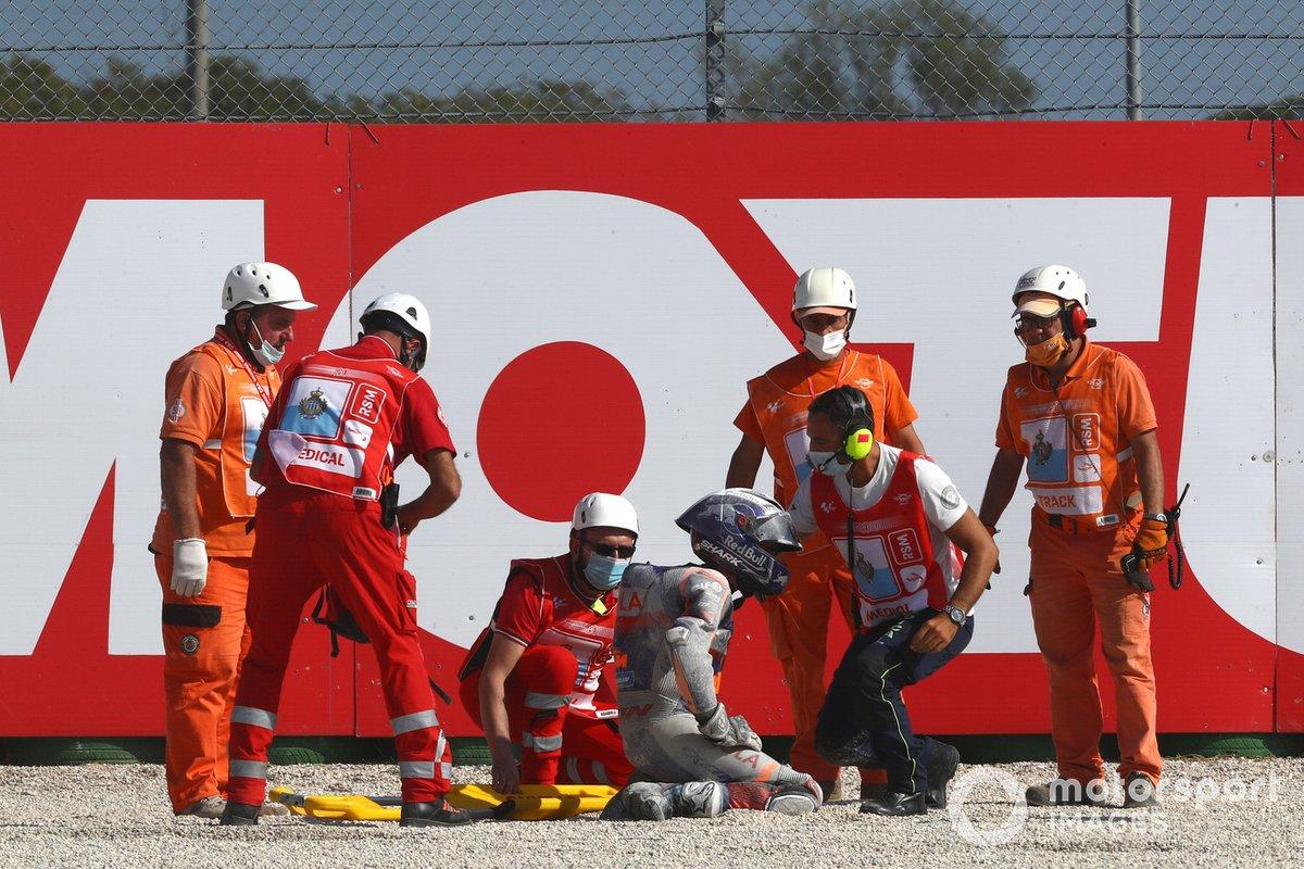 Moto de Miguel Oliveira, Red Bull KTM Tech 3 después de la caída