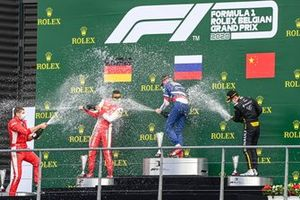 Mick Schumacher, Prema Racing, Race Winner Robert Shwartzman, Prema Racing and Guanyu Zhou, UNI-Virtuosi celebrate on the podium with the champagne