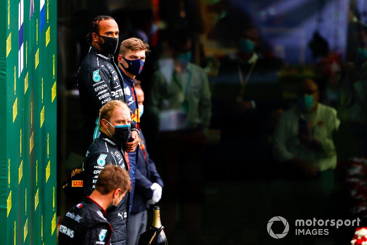 Belgique - Podium : Lewis Hamilton, Valtteri Bottas, Max Verstappen