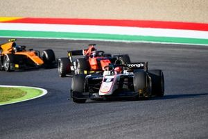 Christian Lundgaard, ART Grand Prix, leads Nobuharu Matsushita, MP Motorsport, and Guilherme Samaia, Campos Racing