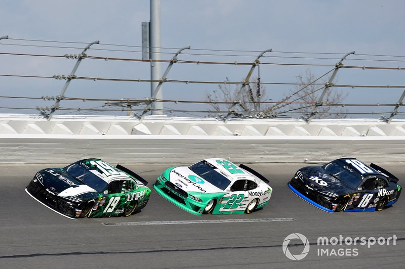 Brandon Jones, Joe Gibbs Racing, Toyota Supra Juniper, Austin Cindric, Team Penske, Ford Mustang MoneyLion and Jeffrey Earnhardt, Joe Gibbs Racing, Toyota Supra iK9