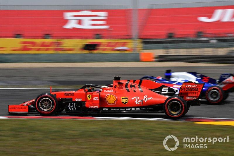 Sebastian Vettel, Ferrari SF90, Daniil Kvyat, Toro Rosso STR14