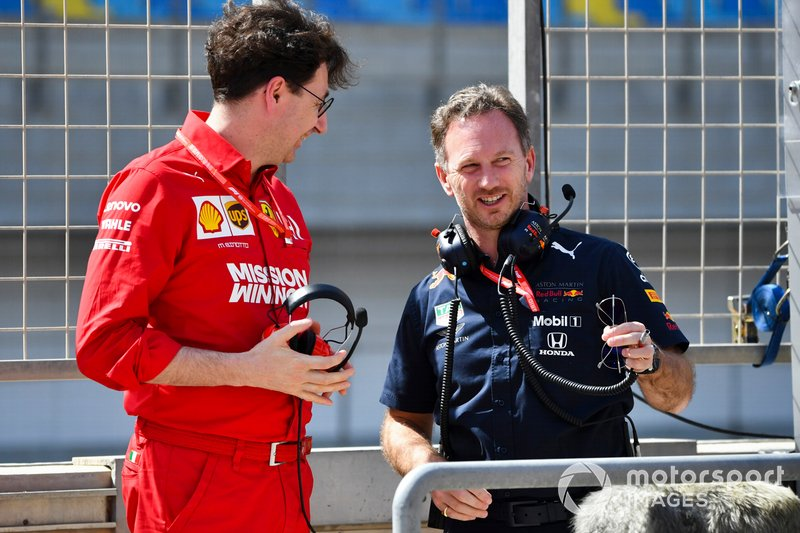 Mattia Binotto, Team Principal Ferrari, Christian Horner, Team Principal, Red Bull Racing