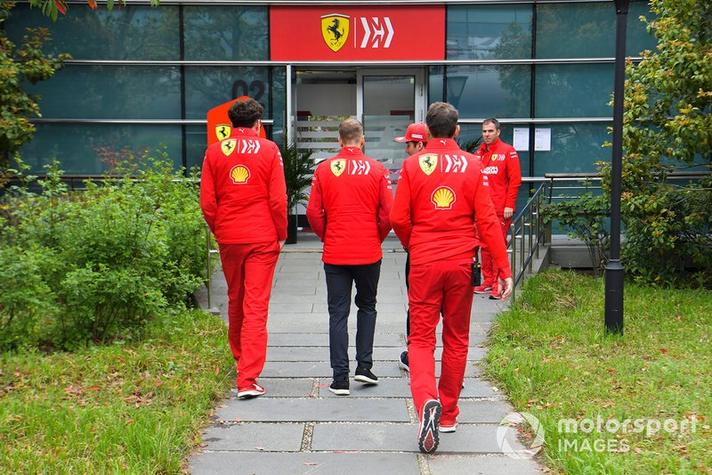 Charles Leclerc, Ferrari, Sebastian Vettel, Ferrari and Mattia Binotto, Team Principal Ferrari